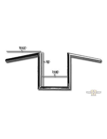 "Manubrio H-bar1"" x 8"" L 57cm crom, con fosse,"