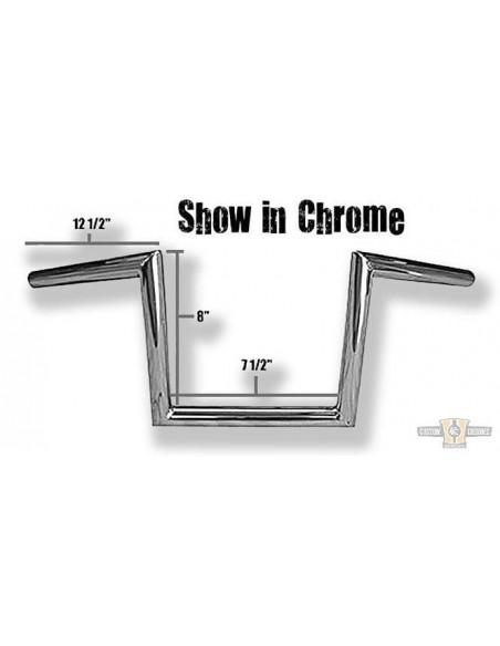 """Manubrio T Bar pullback 1-1/4"""" x 8"""" L 76cm crom, acc elettr, forato,"""