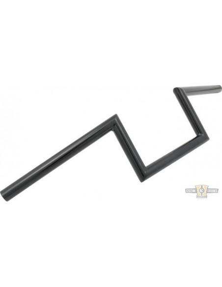 """Manubrio T Bar pullback 1-1/4"""" x 8"""" L 76cm nero, acc elettr, forato,"""