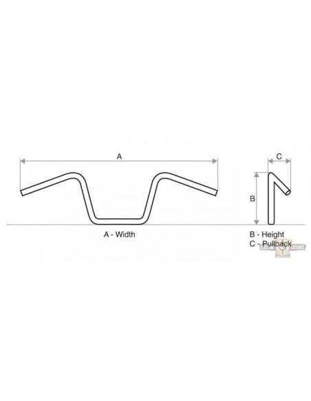 Kit sollevamento serbatoio benzina 5 cm Per Dyna Wide Glide dal 1997 al 2005